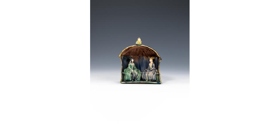Early Staffordshire arbour group of two ladies (minor chips to one corner and to one hat