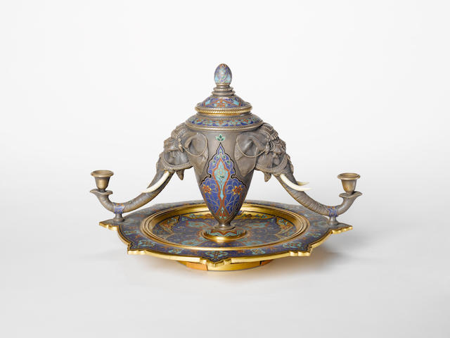 A mid 19th century English silver plated chamleve enamel and chryselephantine inkstand by Elkington