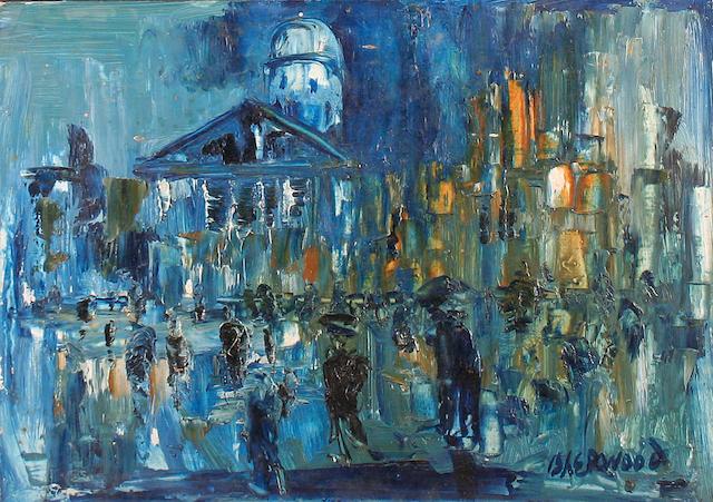 """James Lawrence Isherwood (British, 1917-1988) """"Rain, Trafalgar Square"""","""