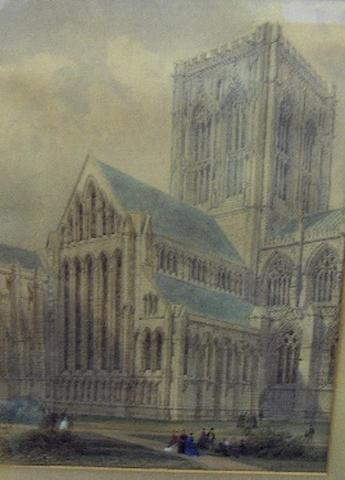 William Richardson (British, 1842-1883) Figures in a cathedral precinct, possibly Lincoln