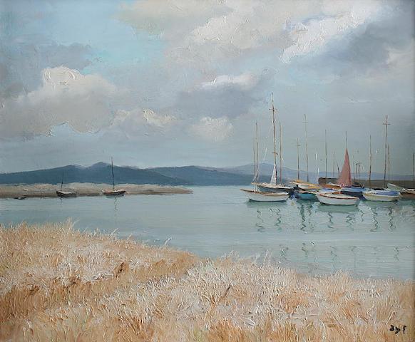 """Marcel Dyf (French, 1899-1985) """"Champs de Ble avec des bateaux et des montagnes"""","""