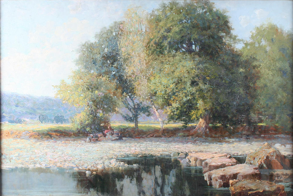 Thomas Edwin Mostyn (British, 1864-1930) Bushey, Hertfordshire, with figures by the banks of the Thames, and another similar with figures picnicking, a pair,