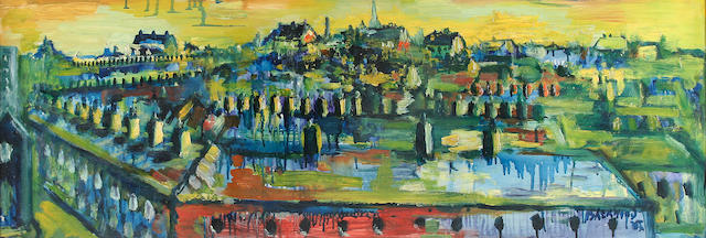 """James Lawrence Isherwood (British, 1917-1988) """"Rain, Wigan Roofs from Central Station with St. Catherines Church Distance"""","""
