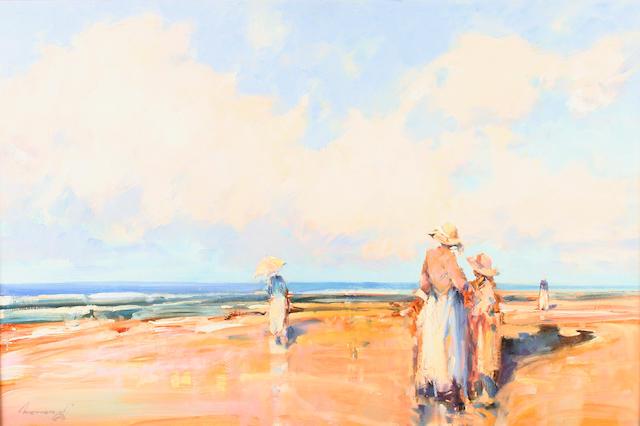 "Ken Moroney (British, born 1949) ""Beach Scene"","