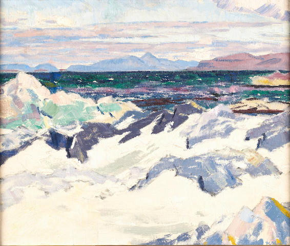 "Francis Campbell Boileau Cadell, RSA RSW (British, 1883-1937) ""The island of Rhum from Iona"""