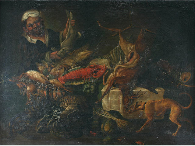 Manner of Frans Snyders Still life with game, seafood, and vegetables, with greyhound and servant displaying a hare,
