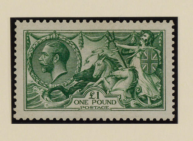 1913 Waterlow: £1 green, SG 403, part o.g., well centred, fine.