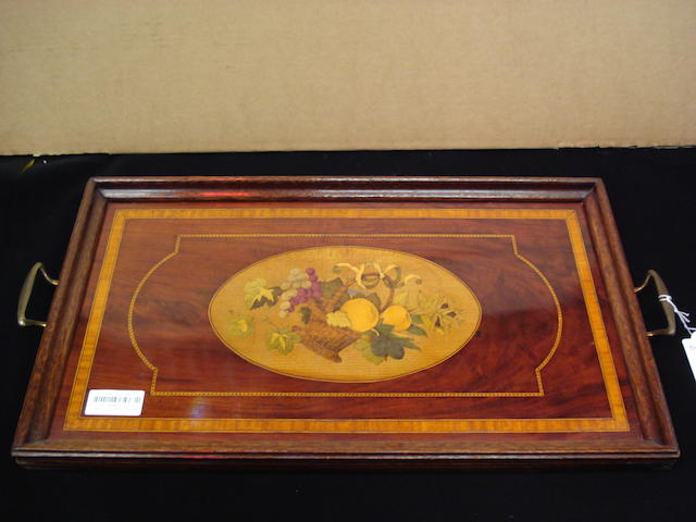 An Edwardian mahogany tray