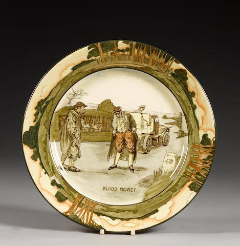 A Royal Doulton 'Series Ware' motoring plate by George Holdcroft, 'Blood Money',