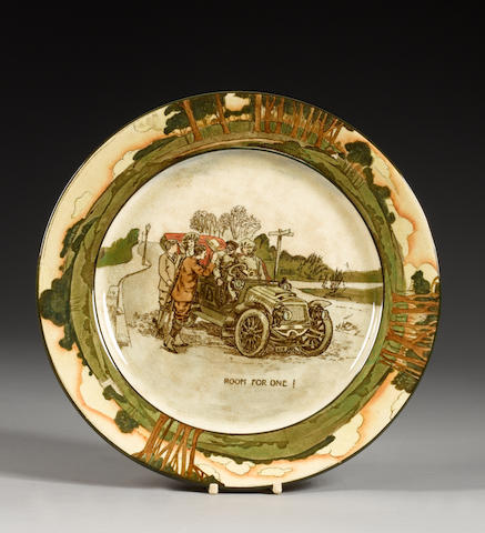 A Royal Doulton motoring 'Series Ware' plate by George Holdcroft, 'Room For One',