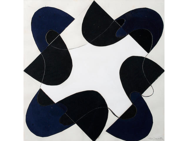 Sir Terry Frost R.A. (British, 1915-2003) Blue black rhythm 1982