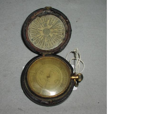 A Negretti and Zambra pocket aneroid barometer, English,  circa 1900,