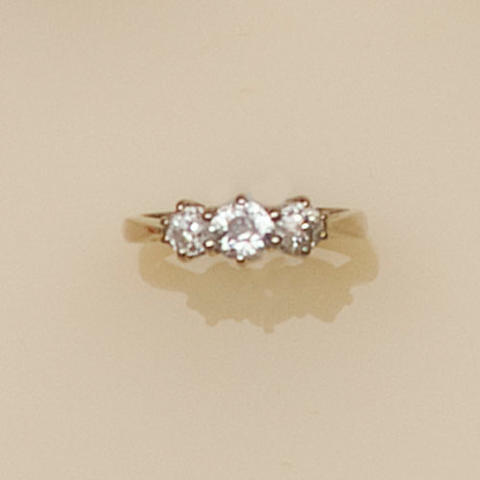 A three stone diamond ring,