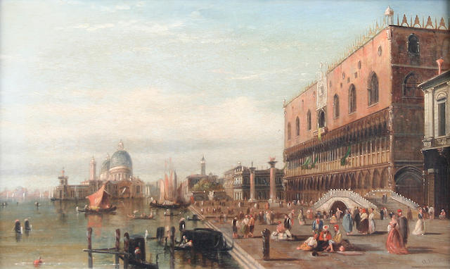 Alfred Pollentine (British, 1836-1890) View of the Grand Canal, Venice with the Doge's Palace and Santa Maria della Salute,