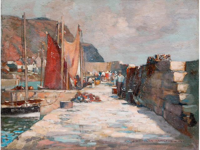 James Whitelaw Hamilton (1860 - 1932) Burnmouth Harbour, oil on board, signed and dated '04, 27 x 35cm See illustration centre pages