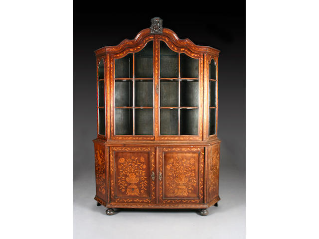 A mahogany Anglo-Dutch floral marquetry display cabinet, 19th Century