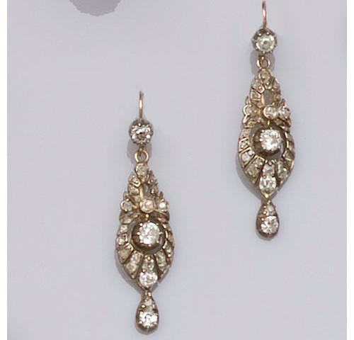 A pair of late Victorian diamond earpendants