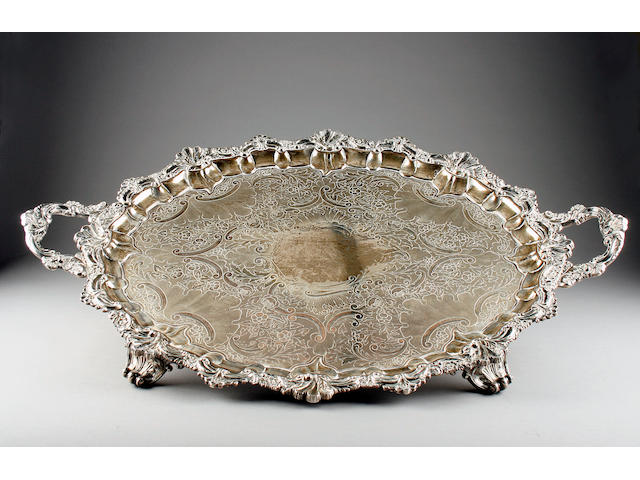 A Victorian oval two handled tray by John Round & Son Ltd., Sheffield 1900