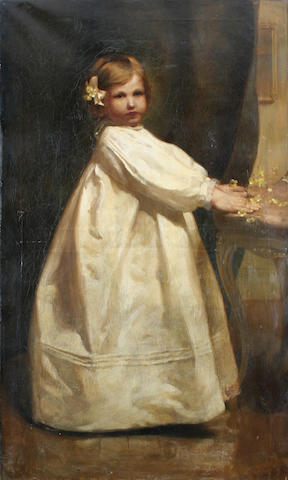 Follower of George Elgar Hicks, RBA (British, 1824-1914) Young girl standing at a table,