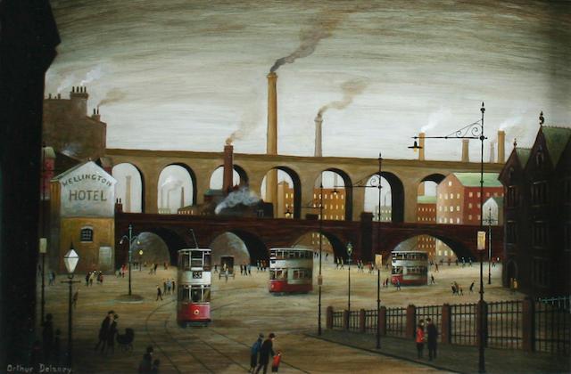 Arthur Delaney (British, 1927-1987) Stockport Trams,