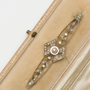 A rose diamond and seed pearl brooch,