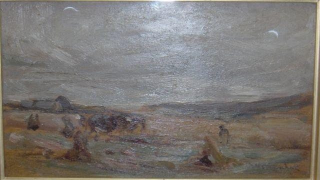 Sir James Lawton Wingate, RSA (British, 1846-1924), early 20th century Harvesting 12 x 23cm, framed and glazed.