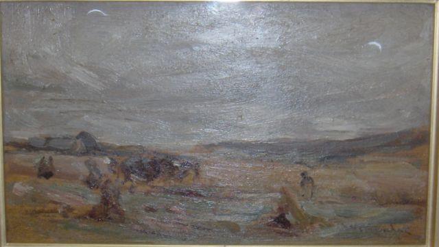 Sir James Lawton Wingate, RSA (British, 1846-1924) Harvesting 12 x 23cm (4 3/4 x 9ins)