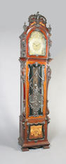 A good, large and elaborate early 20th century carved and inlaid mahogany longcase clock of Louis XVI design, attributed to Pleasance & Harper Ltd. of Bristol