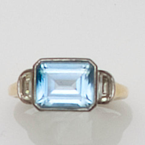 An aquamarine and diamond ring, by Boodle and Dunthorne