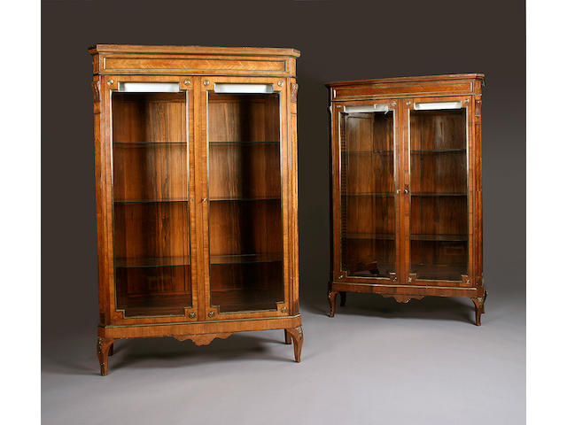 A pair of French Rosewood vitrines, late 19th Century