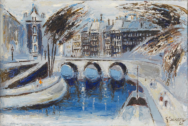 Gerard Sekoto (South African, 1913-1993) View along the Seine, Paris 29 x 42 cm. (11½ x 16½ in.)