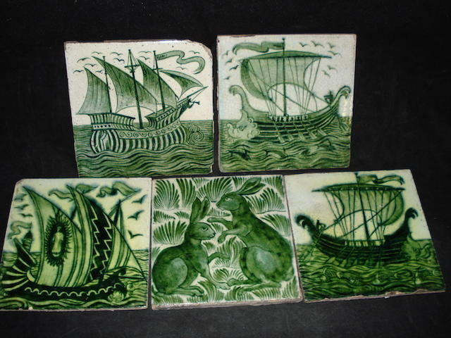 Four William De Morgan galleon tiles