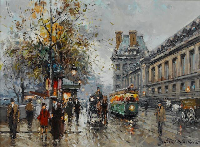 Antoine Blanchard (French, 1910-1988) A stormy day in Paris 18 x 13 in