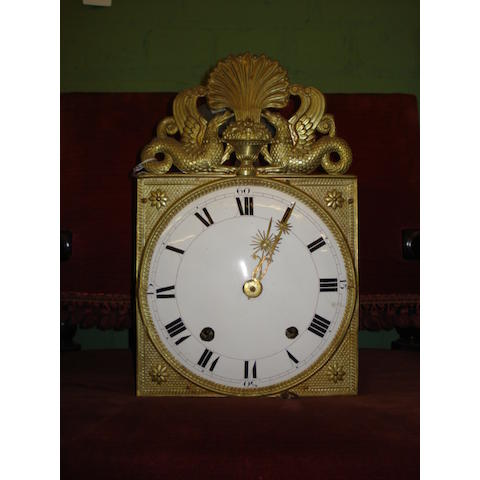 A 19th Century French weight-driven brass 'Comptoise'-type wall clock