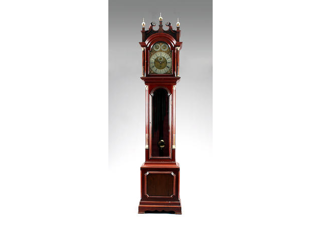 A good quality 20th Century mahogany-cased chiming longcase clock of small proportions Anonymous sold with eight tubes, three weights, pendulum, two keys and winder