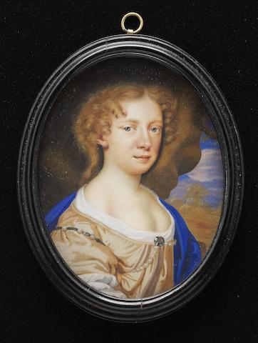 Circle of Mary Beale (British, 1633-1699) A portrait of the artist, Mary Beale (née Craddock) (1633-1699), wearing pale ochre-coloured dress with white underslip, three pearls on a ribbon about her right shoulder, further pearls across her chest, held at her corsage by a brooch and blue cloak, her light brown hair curled, landscape background