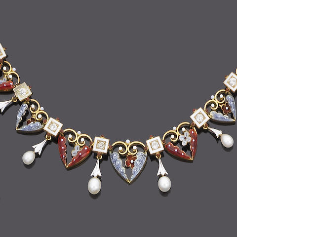 A late 19th century enamel, diamond and pearl fringe necklace,