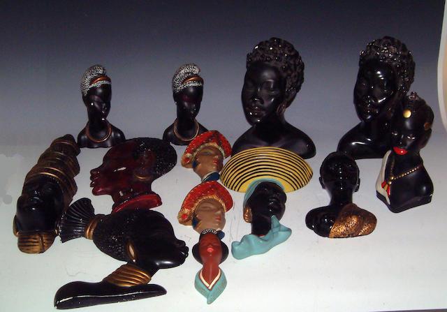 Thirteen various wall masks and bust ornamentscirca 1950s