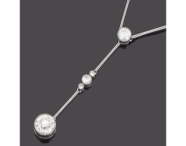An early 20th century  diamond lavalière pendant,