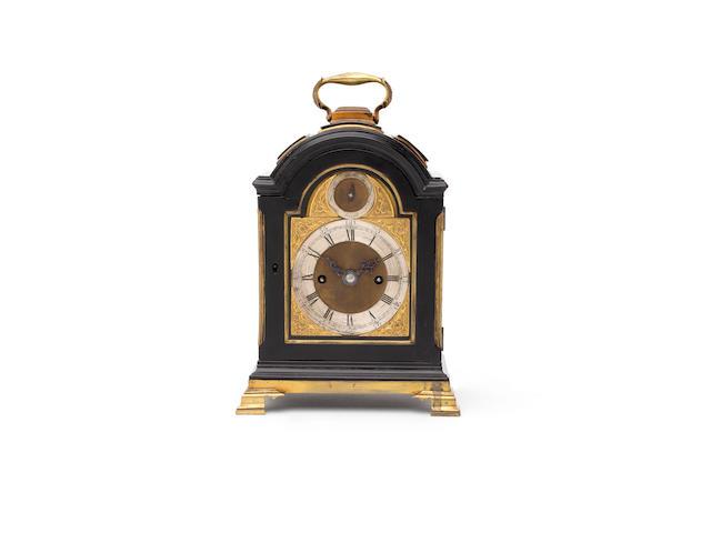 A fine late 18th Century ebonised miniature triple pad-topped bracket clock travelling bracket clock Williamson, London