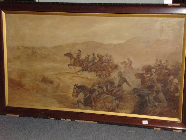 John Charlton (1849-1917) A cavalry charge, probably during the Boer War,