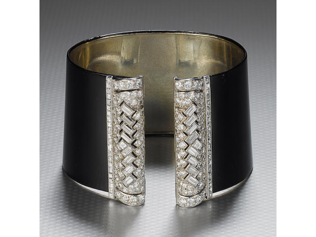 A fine and rare art deco black lacquer and diamond cuff bangle, by Cartier,
