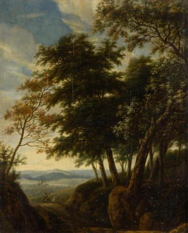 W. Viyuli (Dutch, 18th Century) Figures on woodland track with landscape beyond