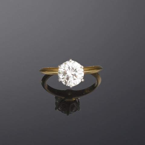 A diamond single-stone ring, by Tiffany & Co