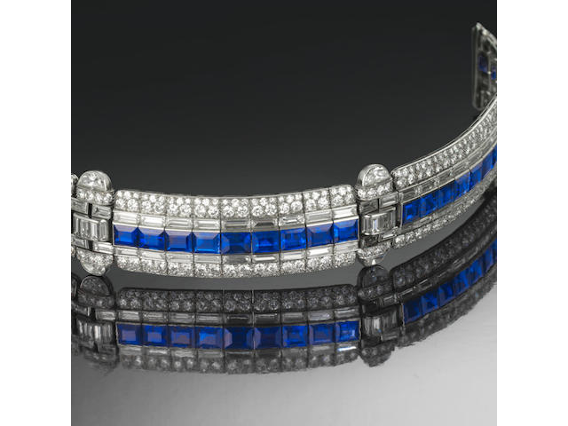 A sapphire and diamond bracelet,  by Tiffany & Co,