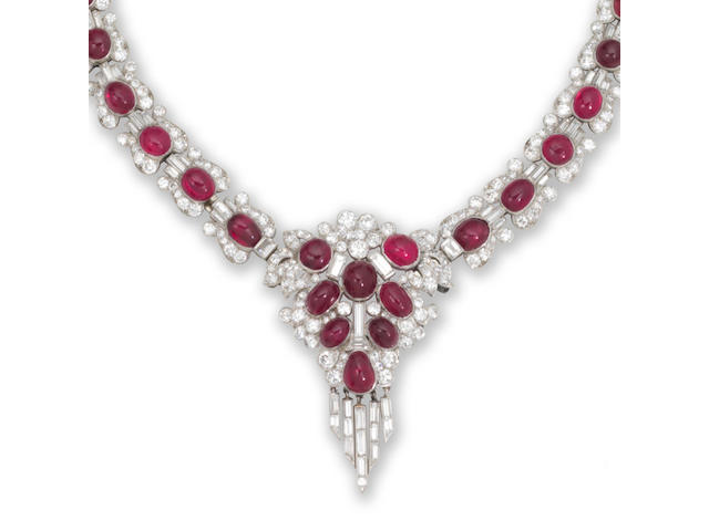 An art deco ruby and diamond necklace and earring suite, (2)
