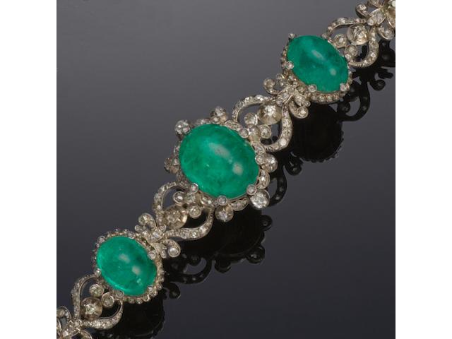 A 19th century diamond and emerald bracelet
