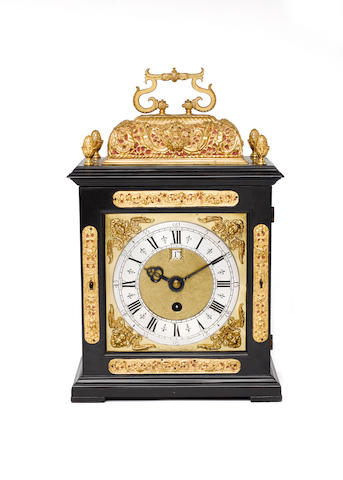 A late 17th century bracket timepiece with pull quarter repeat Later signed Daniel Quare Londini Fecit