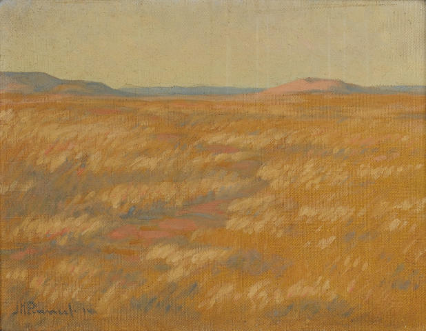 Jacob Hendrik Pierneef (South African, 1886-1957) Veld landscape 35.5 x 46 cm. (14 x 18 in.)