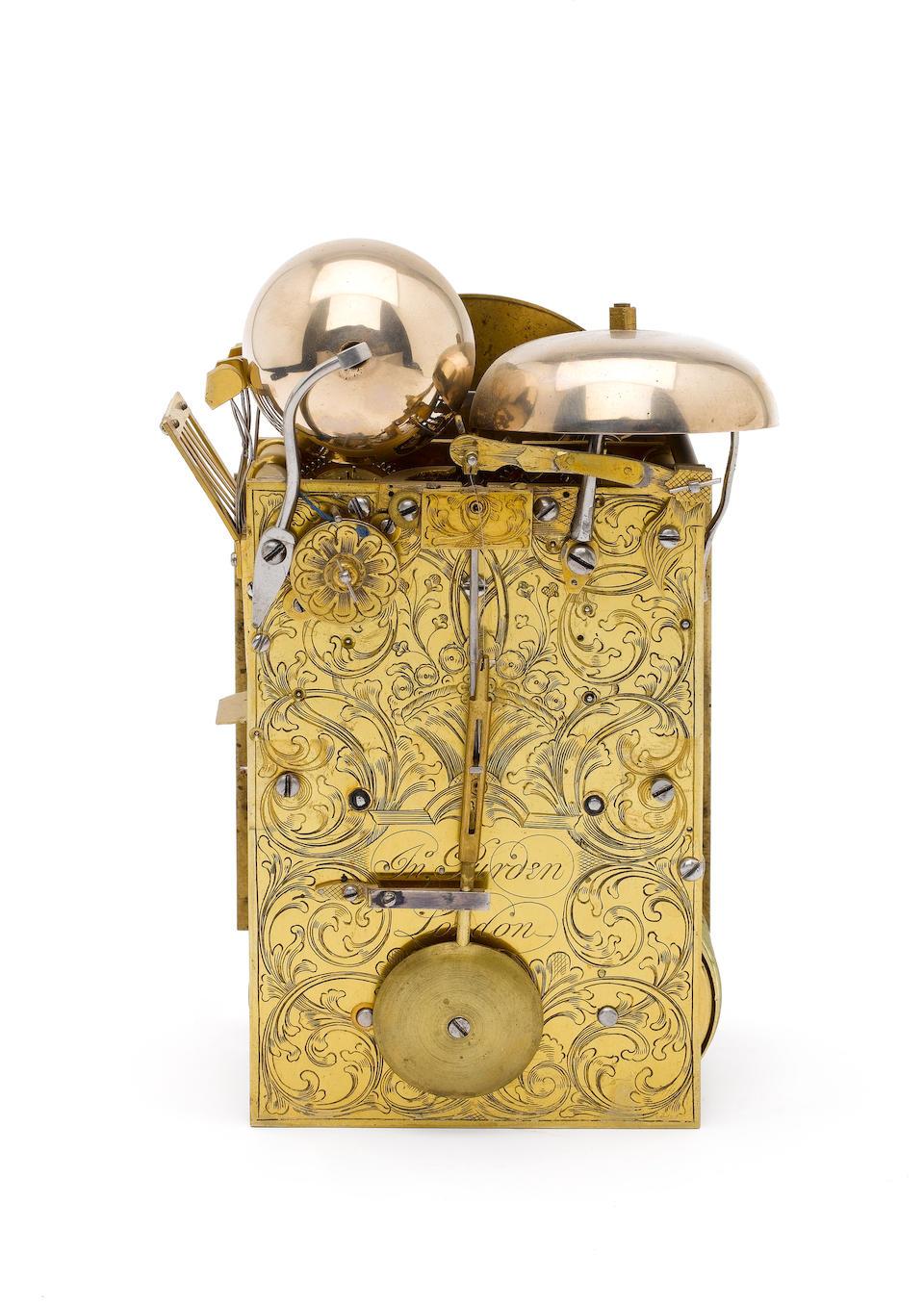 A good late 18th century small brass mounted ebonised single pad top quarter repeating bracket clock John Purden, London